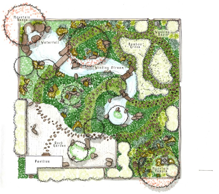 Japanese garden and planting plan c f johnson design for Zen garden designs plan